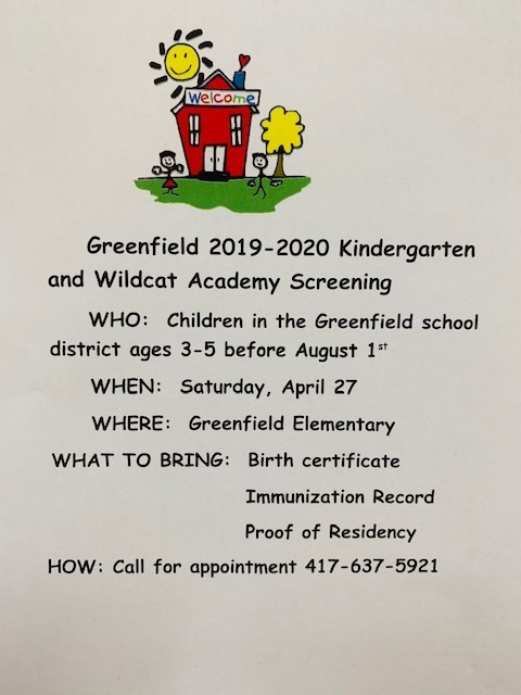 Greenfield 2019-2020 Kindergarten and Wildcat Academy Screening