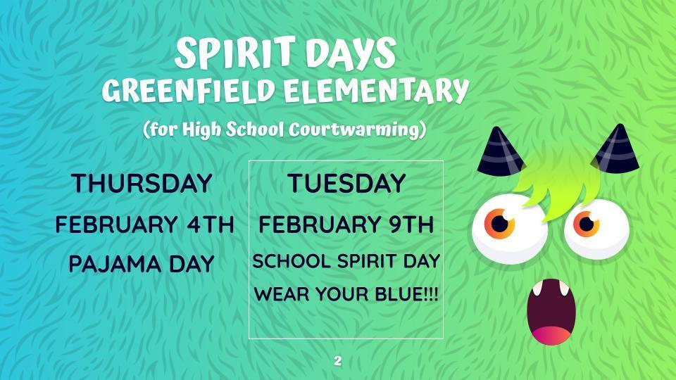 Spirit Days for Elementary students