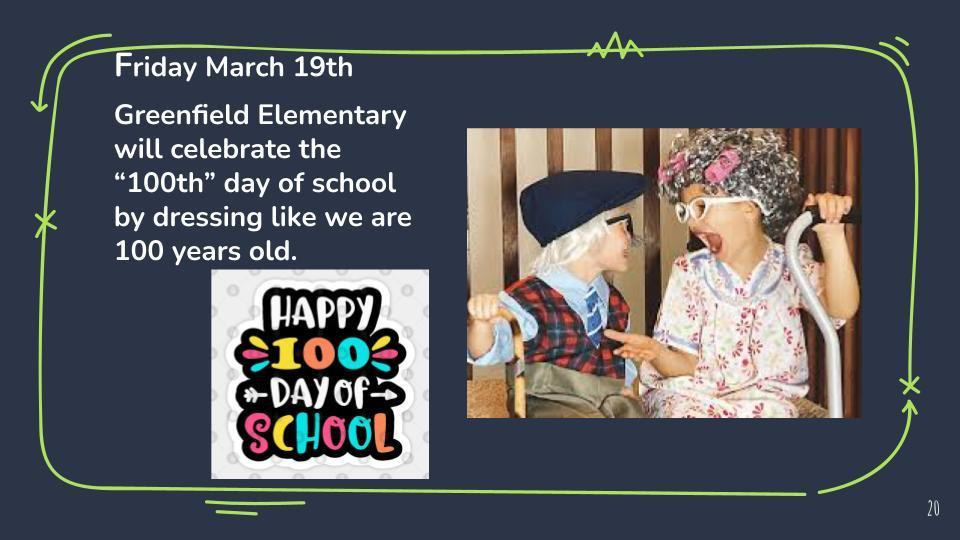 100th Day of School-Friday March 18th