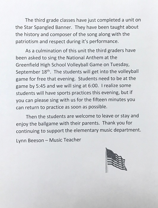 3rd grade students singing National Anthem