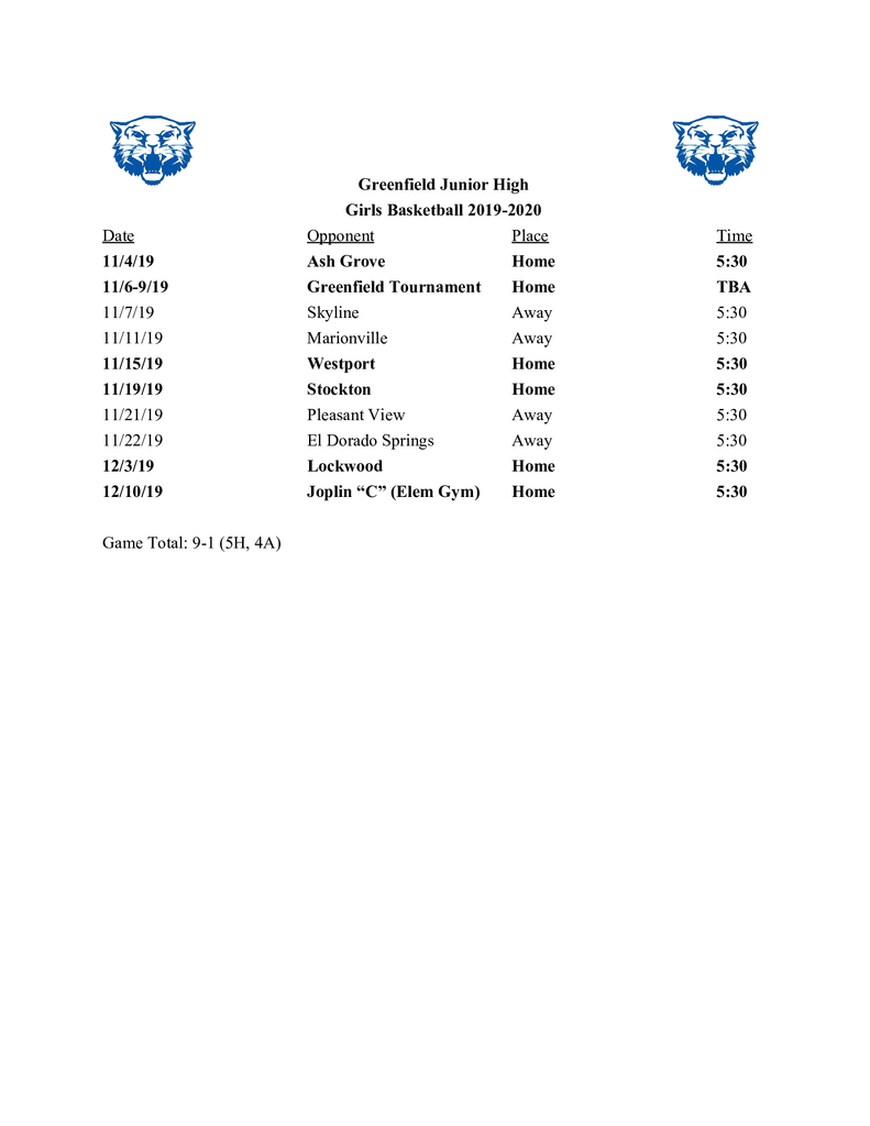 Basketball Schedules